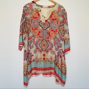 Johnny Was silk tunic top coverup  floral